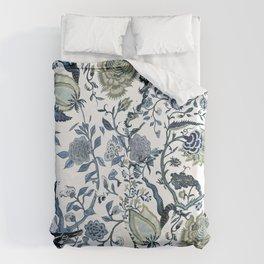 Blue vintage chinoiserie flora Bettbezug