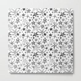 Grey Starfish Pattern - Dark Metal Print