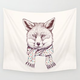 Fox and scarf Wall Tapestry