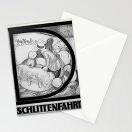 retro noir et blanc Schlittenfahrt Stationery Cards