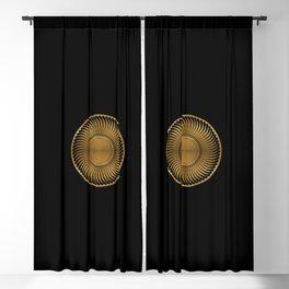MARIGOLD - swirling black mandala on gold Blackout Curtain
