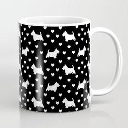 White Scottish Terriers (Scottie Dogs) & Hearts on Black Background Coffee Mug