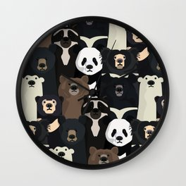 Bears of the world pattern Wall Clock