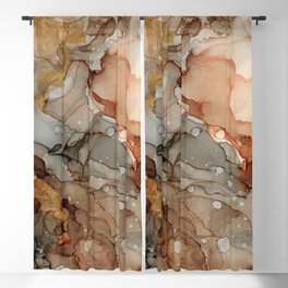 Abstract Ink - Earth Tones Gold Blackout Curtain