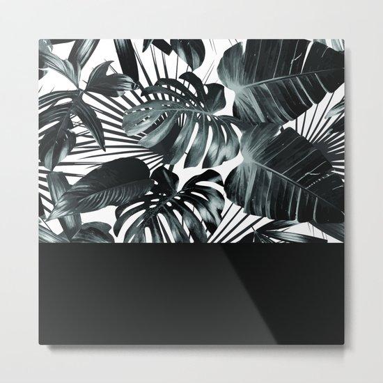 Palm Leaves and Black Metal Print