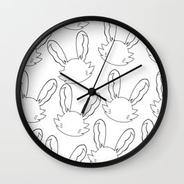 Emo Bunny Silhouette White Pattern Wall Clock