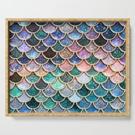 Multicolor Pink And Aqua Mermaid Scales - Beautiful Abstract Glitter Pattern  Serving Tray