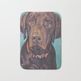 Chocolate lab LABRADOR RETRIEVER dog portrait painting by L.A.Shepard fine art Bath Mat