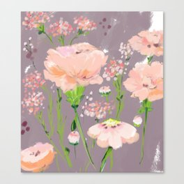 pink wildflowers Canvas Print