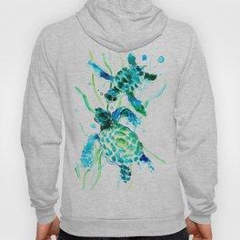 Sea Turtles, Turquoise blue Design Hoodie