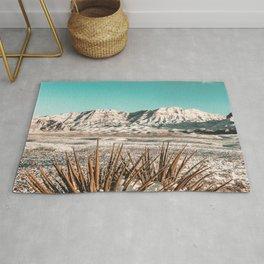 Vintage Mojave Mountains // Snowcapped Desert Landscape Cactus Plant Perspective Photograph Rug