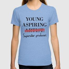 Young Aspiring Artist parody Superstar Producer T-shirt