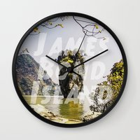james bond Wall Clocks featuring James Bond Island (vintage) by Armine Nersisian