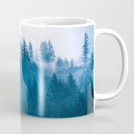 Blue Winter Day Foggy Trees Coffee Mug