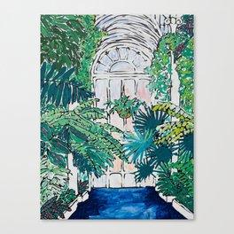 Kew Gardens Sunrise Walkway Greenhouse Jungle Painting London Canvas Print