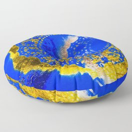 Royal Blue and Gold Abstract Lace Design Floor Pillow