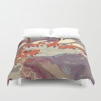 vintage map Duvet Covers featuring Fisher Fox by Teagan White