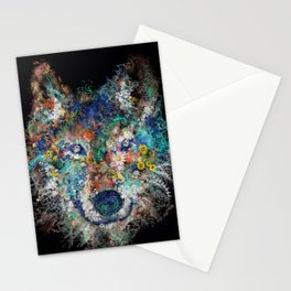 floral animals wolf 2 Stationery Cards