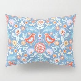 Happy Folk Summer Floral on Light Blue Pillow Sham