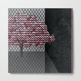 Abstract Pink Blossom tree composition on rust Metal Print
