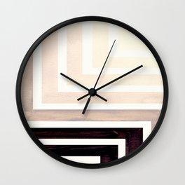 Grey Mid Century Modern Watercolor Colorful Ancient Aztec Art Pattern Minimalist Geometric Pattern Wall Clock