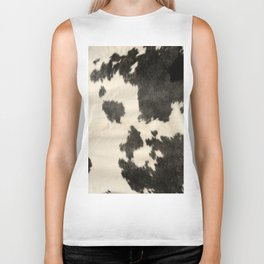 Black & White Cow Hide Biker Tank