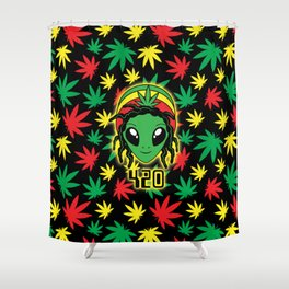 Rasta 420 Alien Shower Curtain