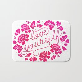 Love yourself pink red Bath Mat