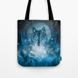 wolf in blue Tote Bag