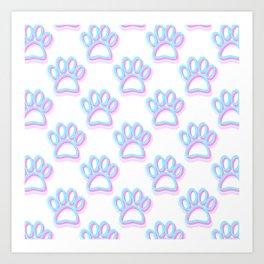 Pink And Blue Neon Dog Paw Prints Art Print