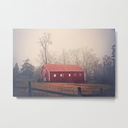 Little Red Barn in the Fog Metal Print