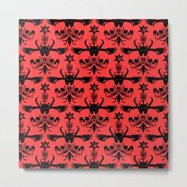 The Flying Black Cat Spell | damask | scarlet Metal Print