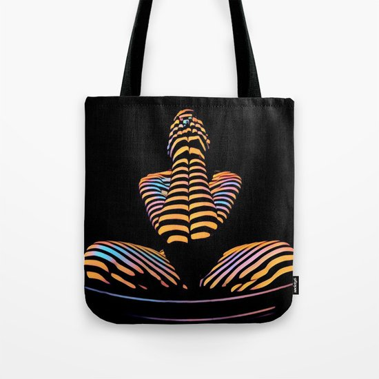 1183s-MAK Nude Abstract Striped Zebra Woman Hands Over Face by Chris Maher Tote Bag