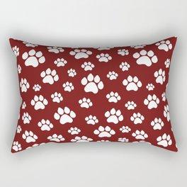 Puppy Prints on Maroon Rectangular Pillow