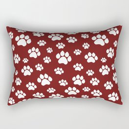 Puppy Prints on Maroon Rectangular Pillow