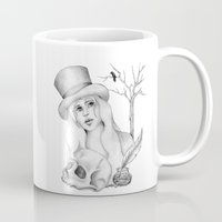 edgar allan poe Mugs featuring Mrs. Edgar Allan Poe by Rene Robinson