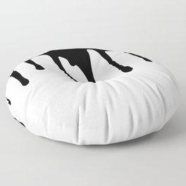 Black paint drips on white background Floor Pillow