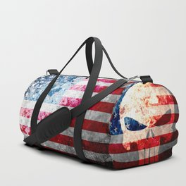 Punisher Themed Skull and American Flag on Distressed Metal Duffle Bag