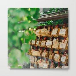 Japan Photography - Ema Prayer Board By Leaves In Japan Metal Print