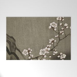 Blossoming plum tree at full moon  - Vintage Japanese Woodblock Print Art Welcome Mat
