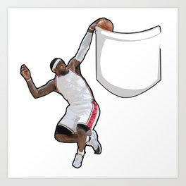 King James dunking in a pocket Art Print