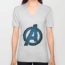 UNREAL PARTY 2012 AVENGERS LOGO FLYERS Unisex V-Neck