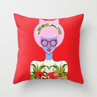 fern Throw Pillows featuring Fern  by The Pairabirds