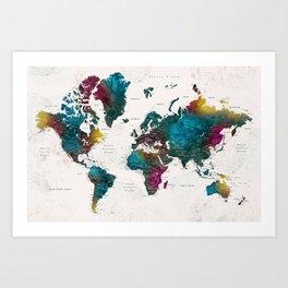 Watercolor world map with cities, Charleena Art Print