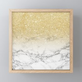 Modern faux gold glitter white marble color block Framed Mini Art Print