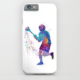 Lacrosse Boy Colorful Watercolor Art Sports Gift iPhone Case