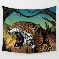 jaguar Wall Tapestries featuring Jaguar by Adamzworld