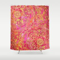 baroque Shower Curtains featuring Hot Pink and Gold Baroque Floral Pattern by micklyn