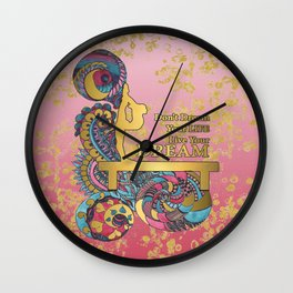 Gymnastics- Live your Dream- In Pink Gradient and Gold Watercolor Doodle Design Wall Clock
