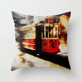 urban tramway Throw Pillow